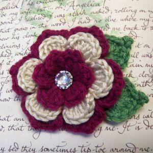 Crochet Flower Brooch or Pin. Handmade Flower Brooch. Crochet Brooch.