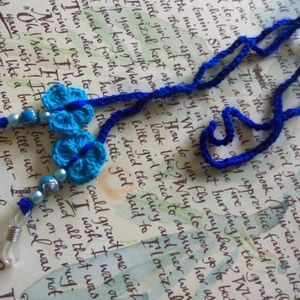 Eyeglasses Strap. Blue Crochet Eyeglasses Strap With Crochet Butterflies.