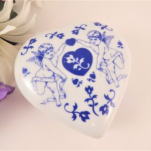 Ring Dish Blue and White Ceramic Cherubs Hearts Flowerd Trinket Box Jewelry Keeper Vintage 1980s