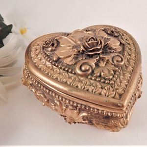 Heart Shaped Gold Floral Ceramic Trinket Dish Vintage Ring Jewelry Keeper Gift Box