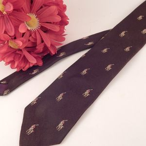Mens Tie Ralph Lauren Polo Brown Necktie Vintage Neckware