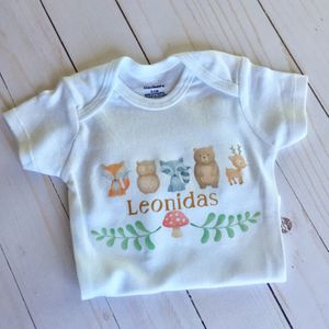 Personalized Baby Bodysuit Onesie Forest Animals