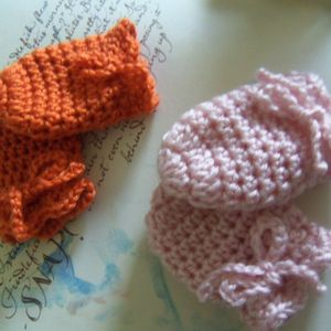 Orange and Pink Crochet Baby Mittens. Set of Two Handmade Baby Mittens. Baby Mittens.