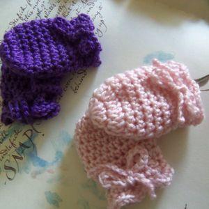 Handmade Baby Mittens. Set of Two Crochet Baby Mittens