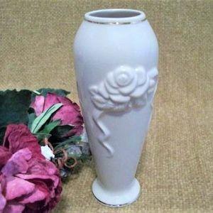 Lenox Flower Bud Vase White Porcelain Rose Embossed Vintage Home Decor