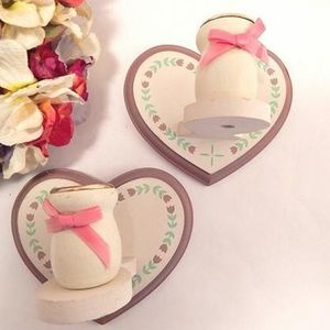 Taper Candle Holders Handcrafted Sconce Vintage Wooden Heart Wall Hanging