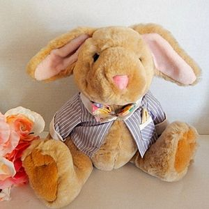 """Bunny Rabbit Stuffed Animal 11"""" Jointed Boy  Beige Plush Easter Toy Vintage 1996"""
