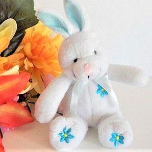 "Bunny Rabbit Plush Stuffed Animal 5""  Blue and White Easter Basket Stuffer Vintage 1990s Toy"