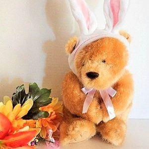 Teddy Bear Bunny Rabbit Sparkly Beige Plush Stuffed Animal Easter Basket Stuffer Toy