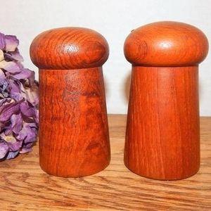 Salt and Pepper Shakers Turned Oak Wood Serving Set Vintage 1980s Danish Modern