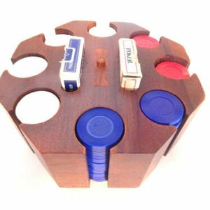 Poker Game Set Rotating  Chip Caddy Poker Chips Playing Cards Vintage 1960s