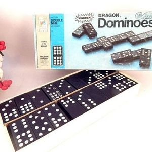 Domino Game Double Nine 55 Piece Wooden Dragon Dominoes Vintage 1970 Milton Bradley
