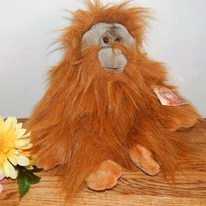 "Orangutan Stuffed Plush Jungle Animal 15""Monkey Ape Vintage 1990s San Diego Zoo Souvenir by Aurora"