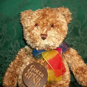 "Teddy Bear  GUND Bearessence Stuffed Plush Animal 15"" Silky Brown Plush Vintage 1990s"