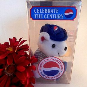 Pepsi Teddy Bear Celebrate the Century Limited Edition 2000 Lil Leaguer NIB Millennium Collectible