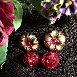 Dangle Disco Ball Earrings Vintage 1970s Fashion Jewelry Red and Purple Flowers Gold Metal Post Earrings for Pierced Ears