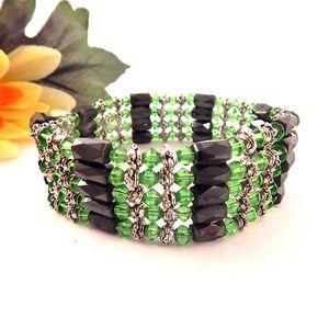 Wrap Bracelet or Necklace Magnetic Hematite Black Green Beaded Strand Vintage Fashion Jewelry