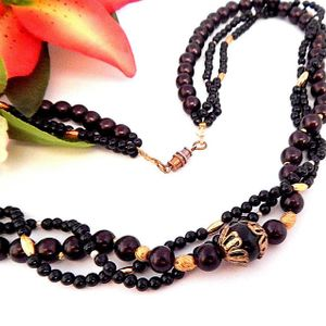 """Triple Strand Beaded Necklace 24""""  Black Brown Gold Beads Vintage 1970s Fashion Jewelry"""