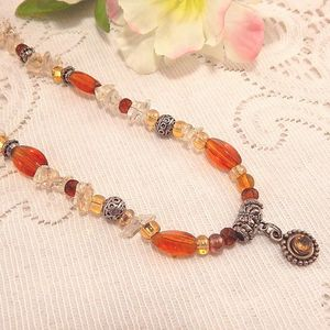 Amber  Bead Pendant Necklace Silver Metal Medallion Adjustable 22 Inch Strand Vintage 1980s Jewelry