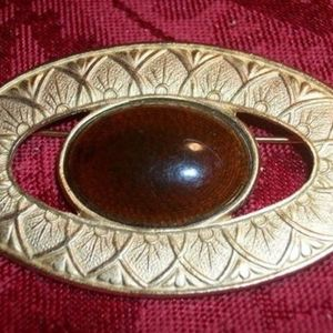 Brooch Gold Metal Geometric Leaf Brown Cabochon Vintage 1980s Fashion Jewelry Coat Scarf Pin