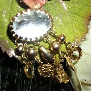 Charm Brooch Beaded Dangle Hearts and Flowers Gold Metal Collar Pin Vintage 1980s Fashion Jewelry