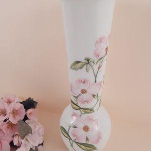 Bud Vase Pink Dogwood Design Flower Vase Vintage 1960s Lefton White Porcelain Home Decor Made in Japan
