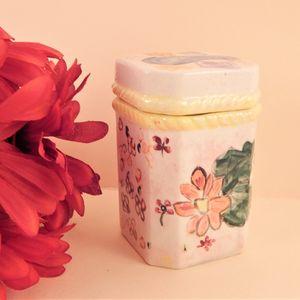 Trinket Dish Ceramic Storage Jar Multi Purpose Covered Box Vintage 1980s Gift Hand Painted Home Decor