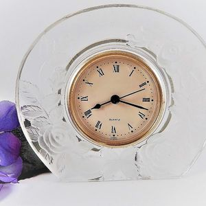 Mikasa Tabletop Clock Studio Nova Frosted Glass Rose Roman Numeral Quartz  Boudoir Clock Vintage 1980s Home Decor
