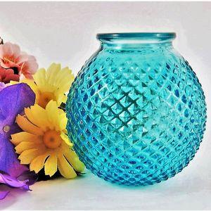 Blue Hobnail Glass Vase Vintage 1970s Colored Glass Translucent Turquoise Raised Diamond Pattern Molded Dew Drop Glass Home Decor