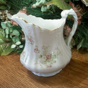 Porcelain Serving Pitcher EPP Co. Antique 1890s Decorative Sauce or Syrup Dish Pink Floral Transferware Tableware