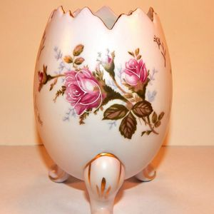 Porcelain Egg Vase Footed Pink Floral Vintage 1950s Napco Moriage Gilded Transferware Mid-Century Collectible Home Decor