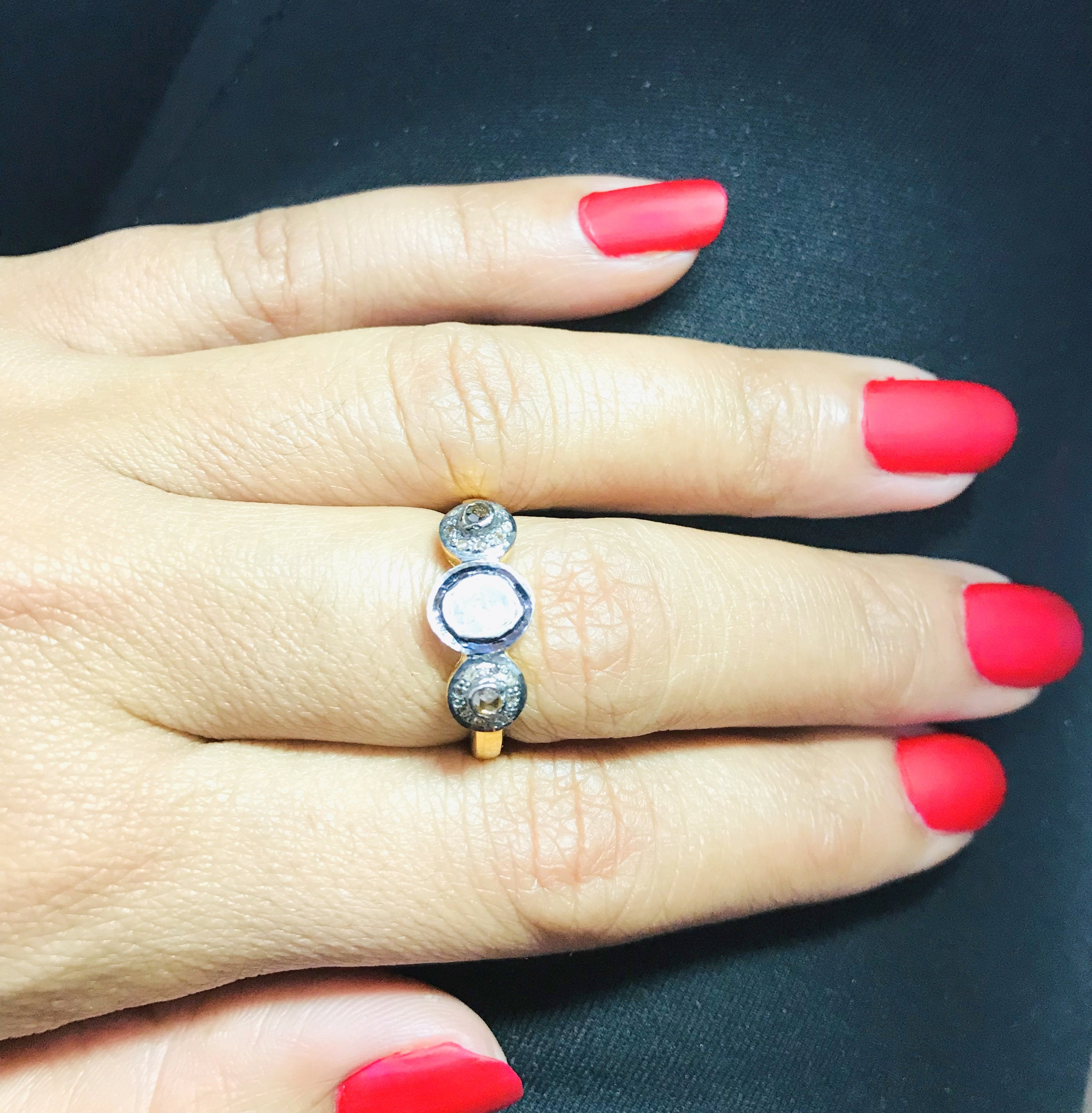 925 Sterling Silver Handmade Jewelry Polki Diamond Ring Gift For Her Sapphire Gemstone Ring Birthday Gift Ring woman Jewelry Ring