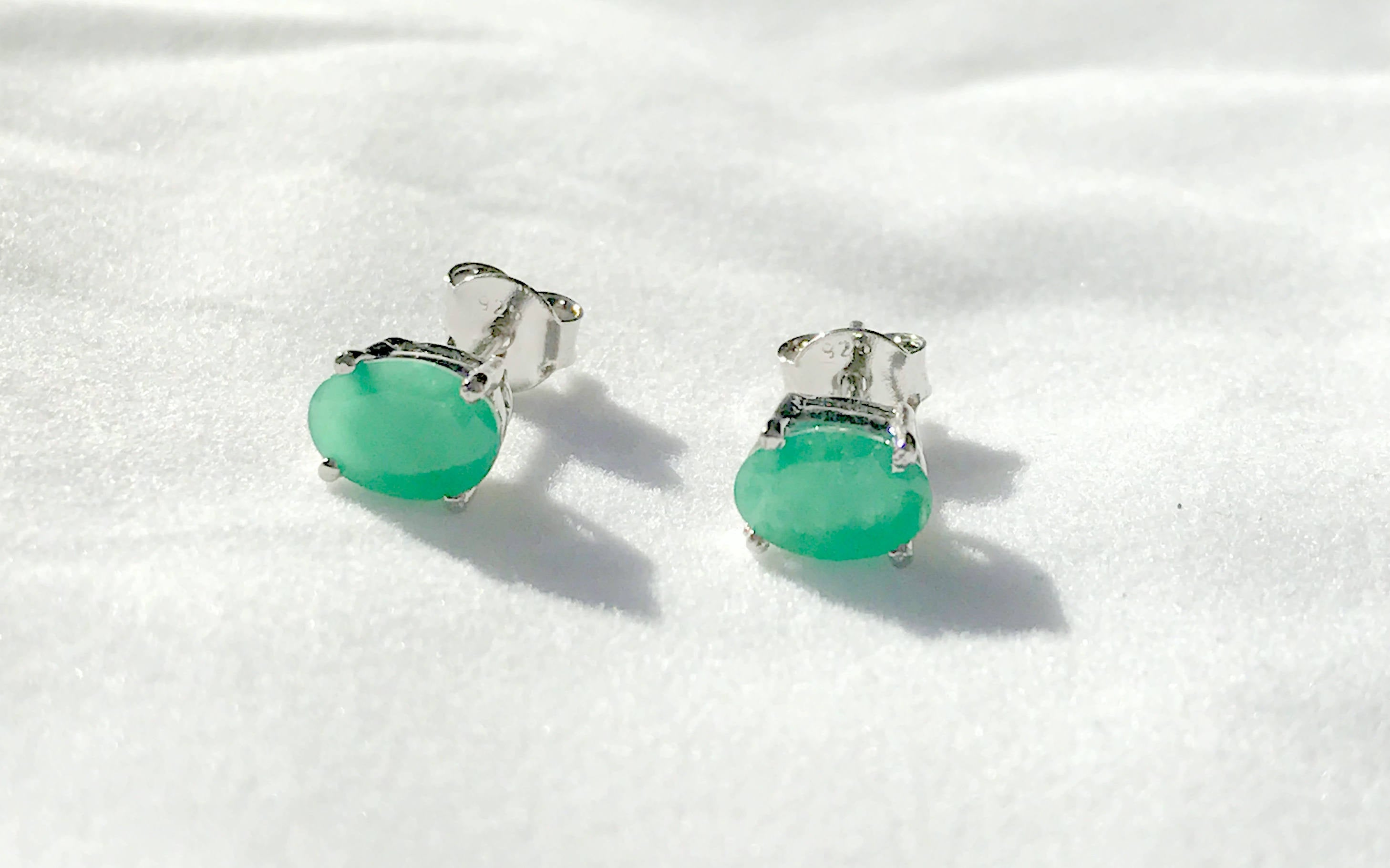 4x6 mm Oval Cut Handmade Silver Earring 925 Solid Sterling Silver Natural Emerald Gemstone Earring
