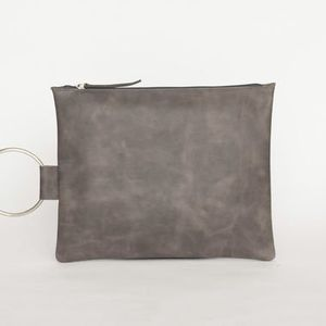 Stylish Grey Leather Clutch