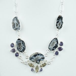Gorgeous Black and silver chains Bib Necklaces