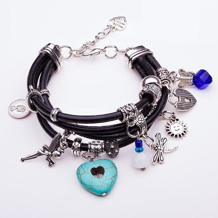 Charm Bracelet, black leather straps