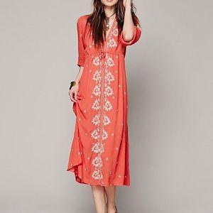 Red long boho dress/tunic