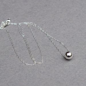 Single Bead Sterling Silver Necklace