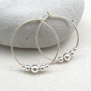 Sterling Silver hoop earrings with silver beads